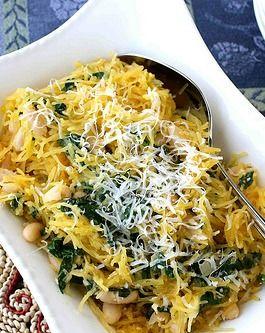 Spaghetti Squash Recipe with Spinach, Feta & Basil White Beans | Reci ...