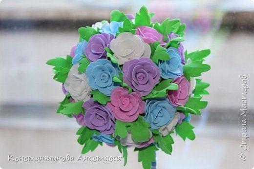 Топиарий из цветов из фоамирана