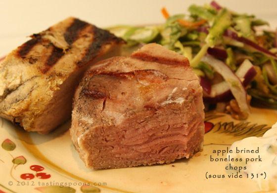 pork chops sous vide // Four 30 ounces boneless pork top loin chops ...
