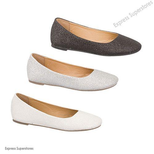 dressy womens shoes   New Womens Glitter Flats Ballet Shoes Dressy