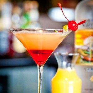 Pineapple upside down cake martini. 3 ingredients--Grenadine, Vanilla Vodka, & Pineapple Juice. And then say CHEERS!