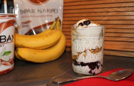 Breakfast parfaits: Greek yogurt, pecan maple granola, sliced bananas ...