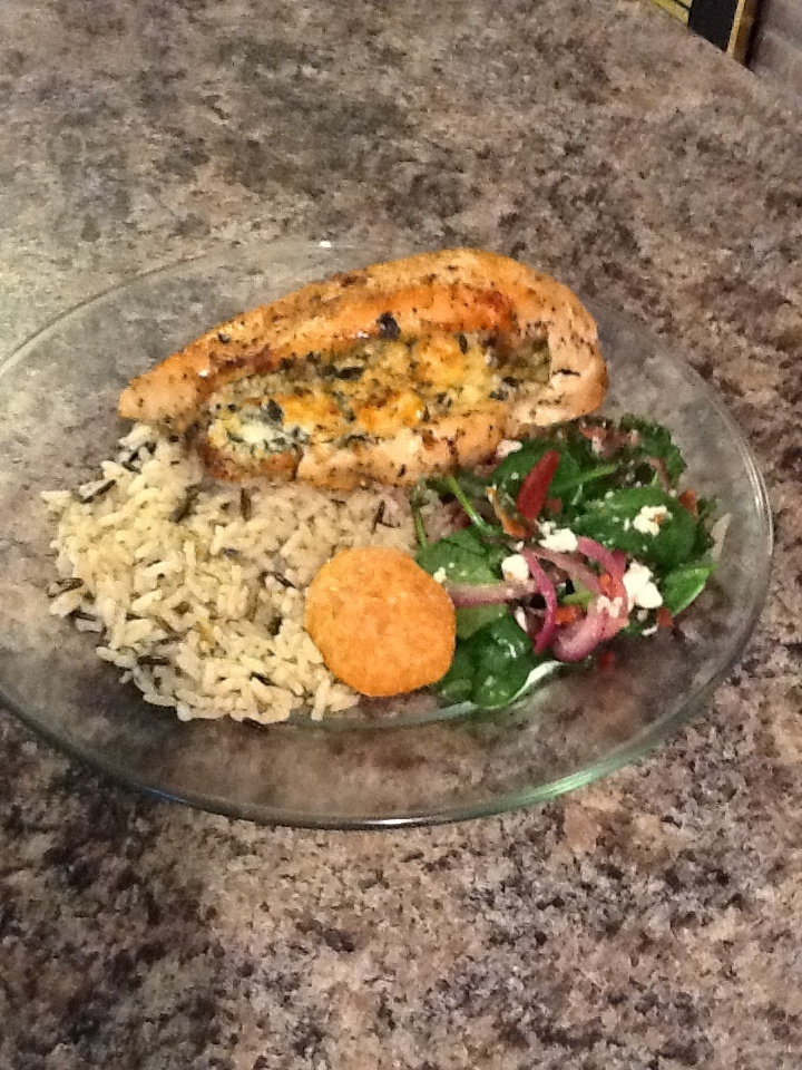 Spinach and Feta cheese stuffed chicken breast, wild rice, warm ...