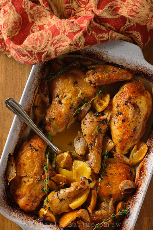 "Slow Roasted Chicken with Lemon and Garlic - ""gloriously easy"" reci..."