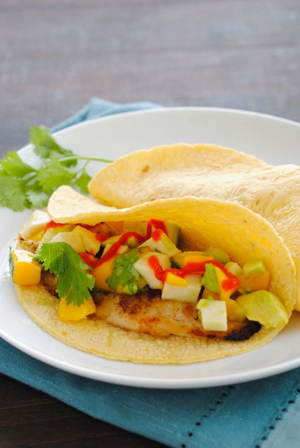Grilled Fish Tacos with Summer Salsa - Cumin-rubbed grilled tilapia ...