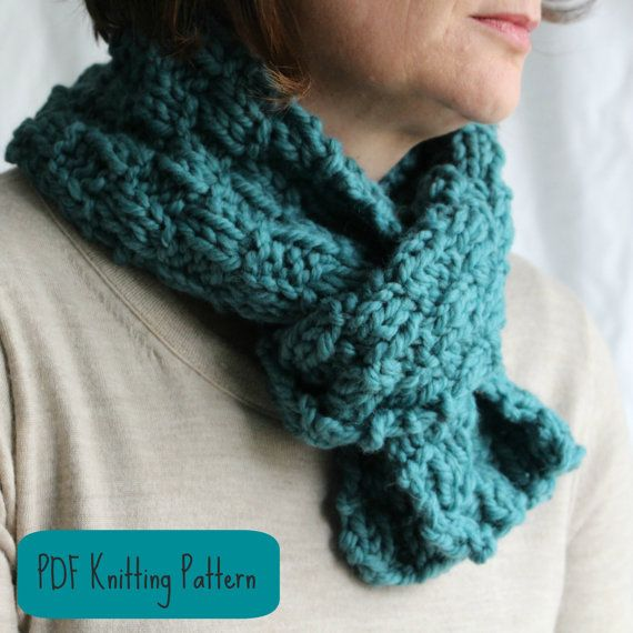 KNITTING PATTERN Scarf  Cowl  Easy Quick Knit Project  Women Teens Knit Scarves For Teenagers