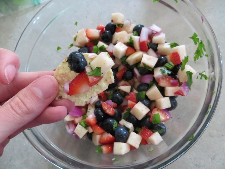 Strawberry-Blueberry-Jicama Salsa | In The Mixing Bowl | Pinterest