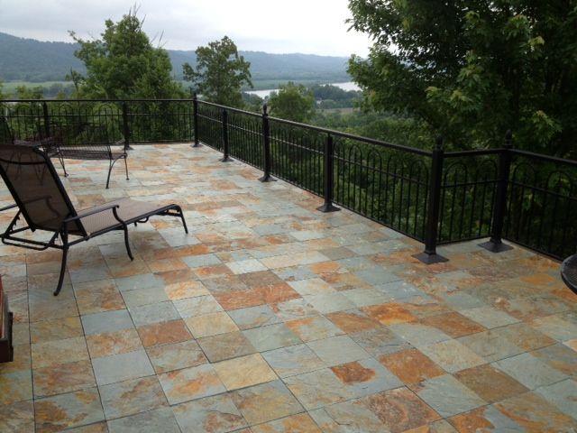 Slate Tiles For Backyard : Rustic slate interlocking outdoor tiles on a patio
