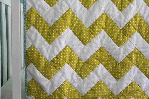 Yellow Polka Dot Chevron Quilt