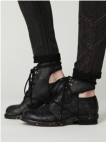 #JeffreyCampbell Romie boot. Love the lacing through the front and the unexpected cut-out. Just purchased these lil puppies off the #freepeople website!