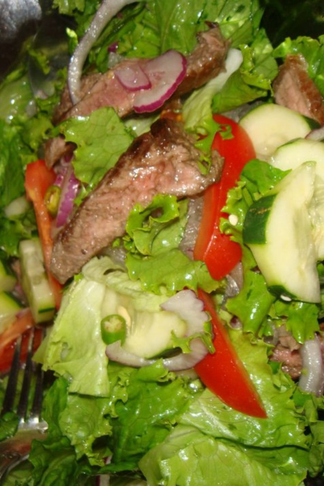 Grilled Ribeye Salad with Thai chili lime dressing.