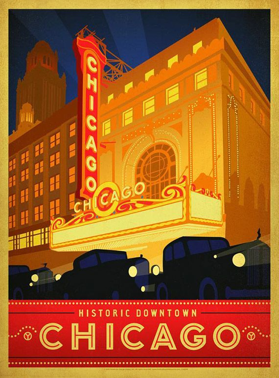 Anderson design poster chicago downtown travel art for Vintage chicago posters