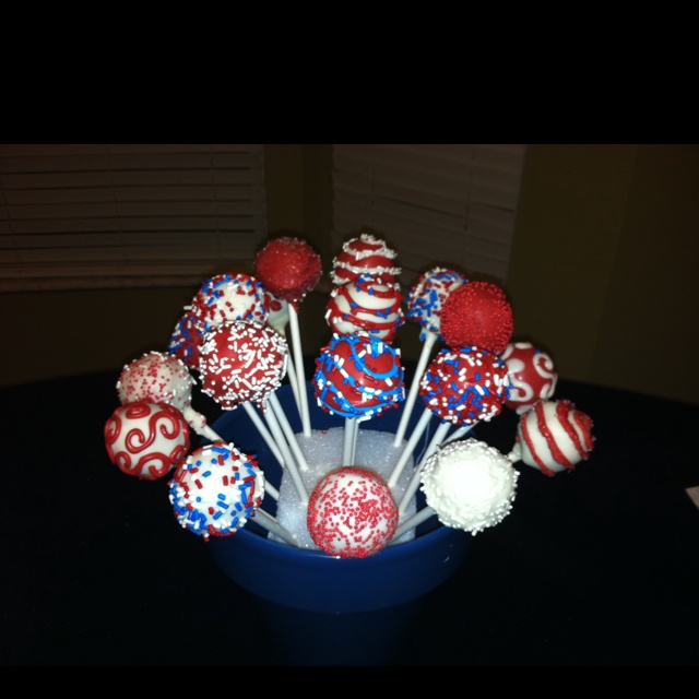 The Red, White and Blue Cake Pops | 18th Birthday | Pinterest