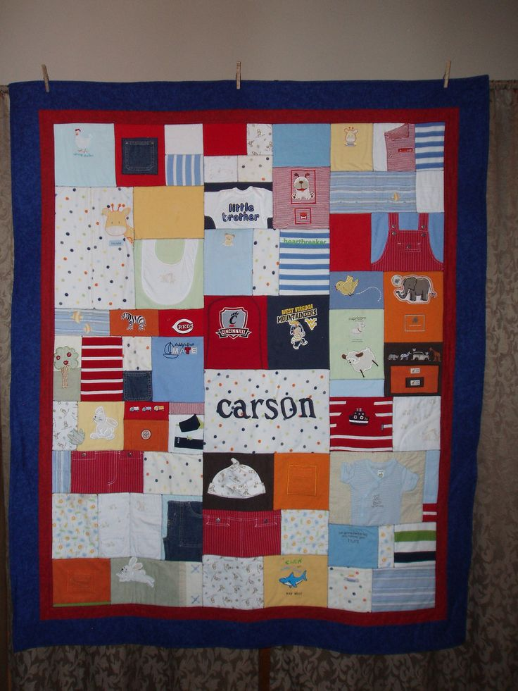 Patchwork style quilt made from baby clothing custom orders