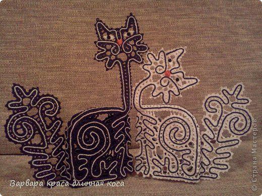 Поделка изделие Плетение на коклюшках Котики Нитки фото 4
