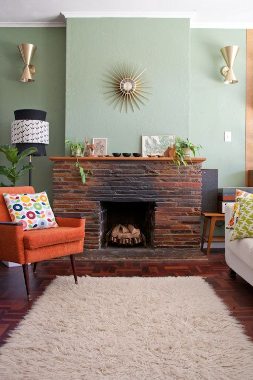 green walls and bright accents