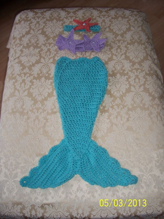 Free Crochet Pattern For A Mermaid Tail : Crocheted Mermaid Tail Photo Prop 0-6 months Choose your color