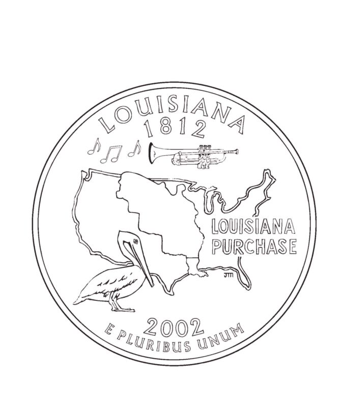 Coloring Pages Quarter : Louisiana state quarter coloring page road trip pinterest