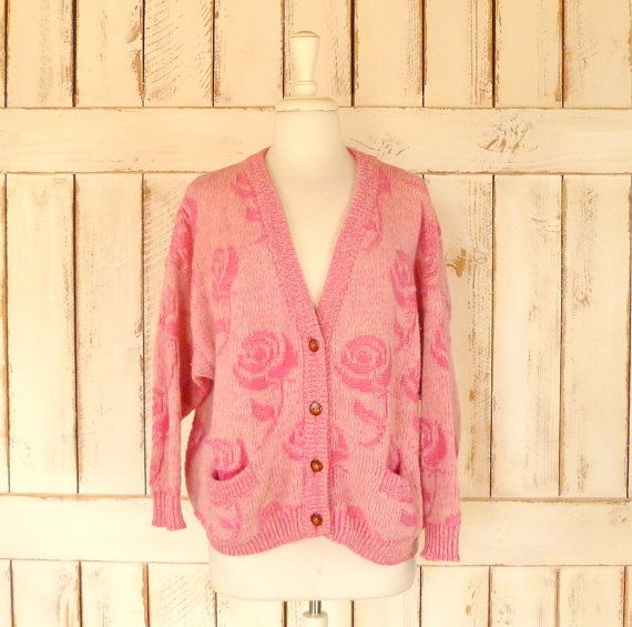 pink floral woven vintage knit cardigan sweater/Benetton chunk