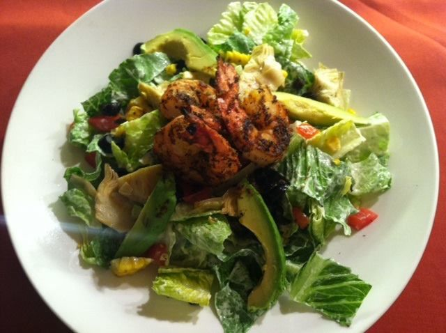 CHOPPED SALAD is made with blackened shrimp, romaine lettuce, corn ...