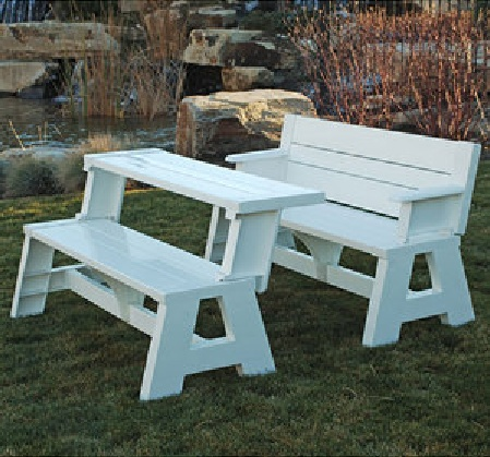 Garden Bench With Arms That Converts Into Half A Picnic Table Two Benches Pushed Together Make