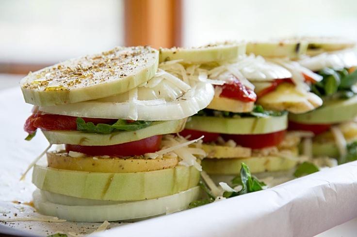 Stacked Tomato, Summer Vegetable And Grilled Bread Salad Recipes ...