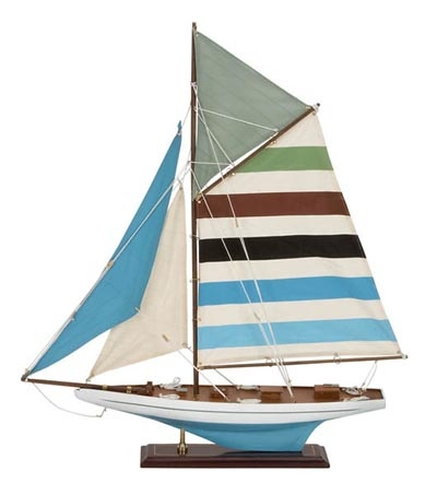 Decorative Cutter Blue Model Sailboat