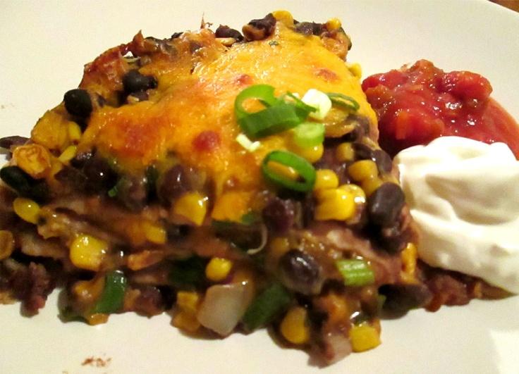 Tortilla, Chicken, Black Bean Pie ~ Eat Your Heart Out