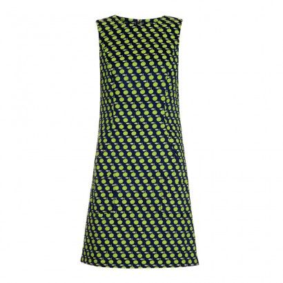 Apple Print Shift Dress Ink/Lime/Lemonade