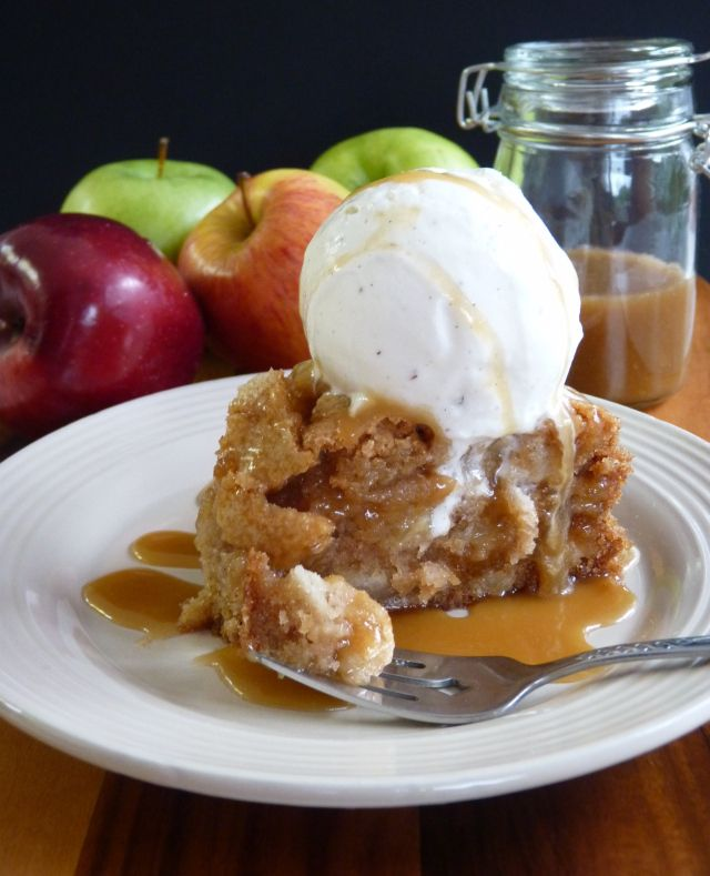 apple cake with caramel topping and vanilla ice cream