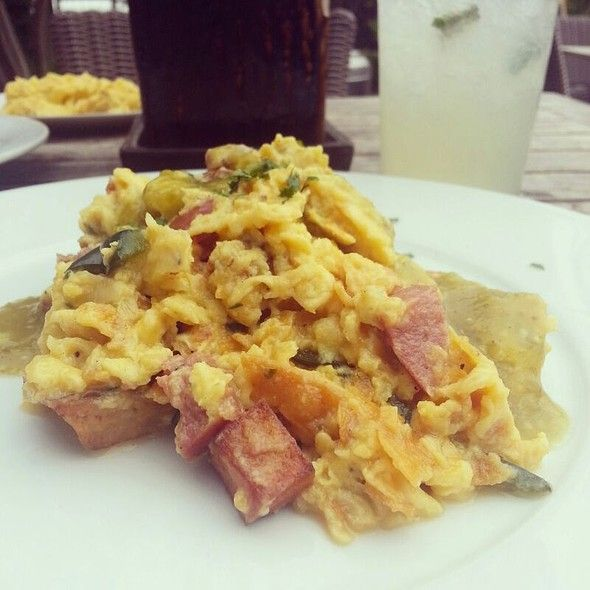 migas @ Tiny Boxwoods eggs scrambled with cheese, sausage, potatoes ...