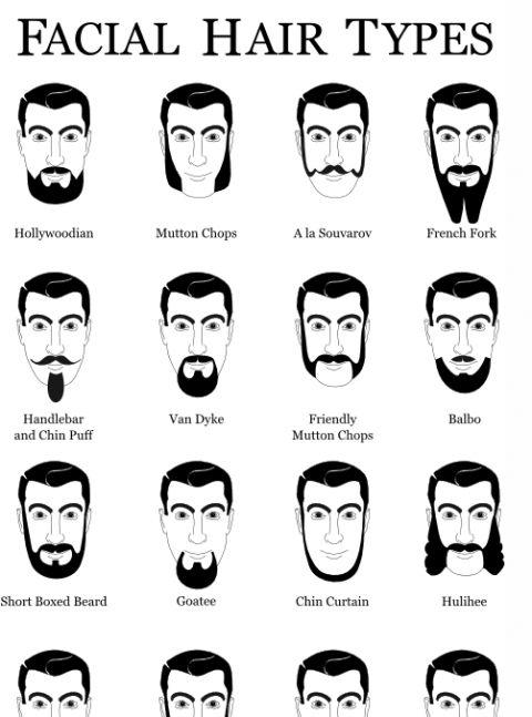 name types of mustache facial hair