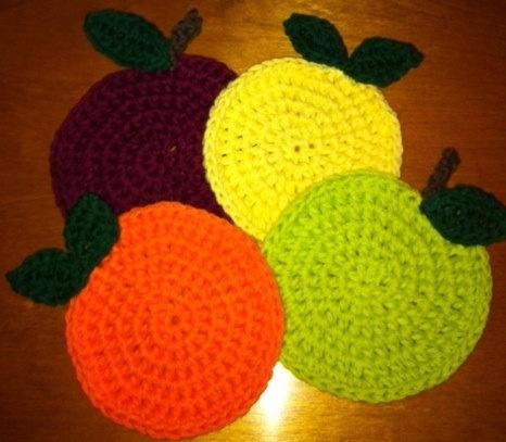 Crochet fruit coasters cute things Pinterest