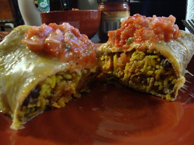 sweet potato, kale, black bean burrito made into tostado instead ...
