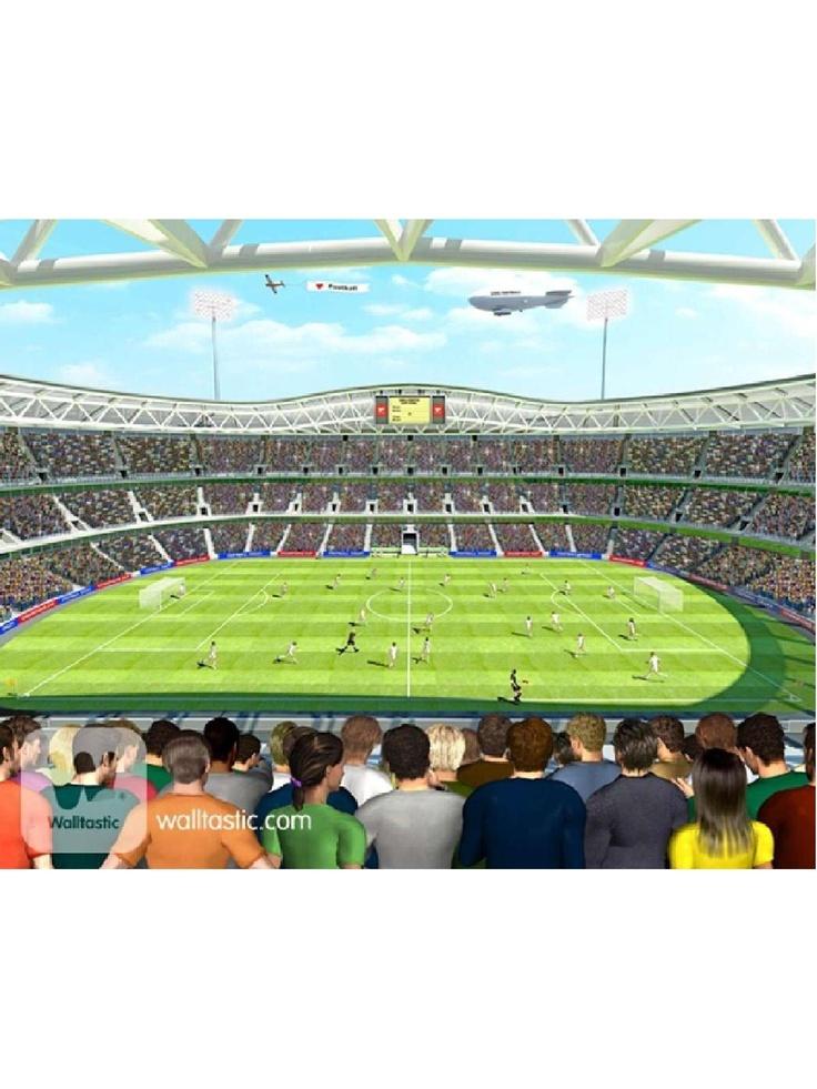Football stadium wall mural nates dream room pinterest for Emirates stadium mural
