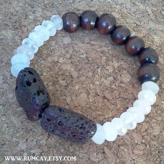 Lava Rocks Pink Quartz and Chocolate Brown Beads by RumCay on Etsy, $16.95