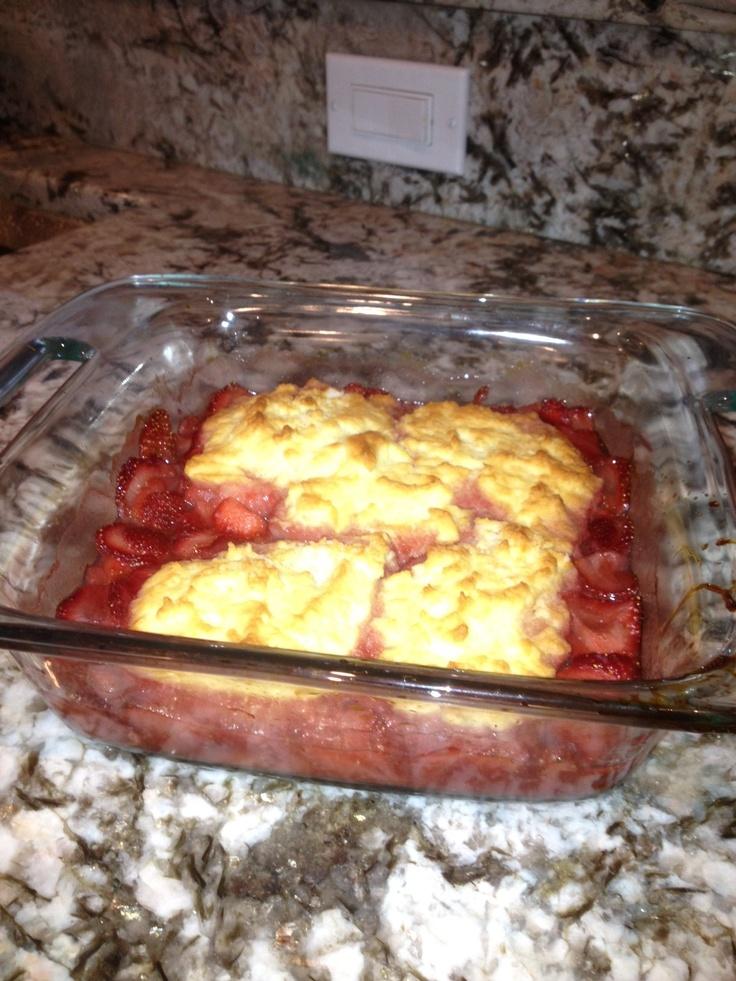 Gluten-free, sugar-free strawberry cobbler. YUM