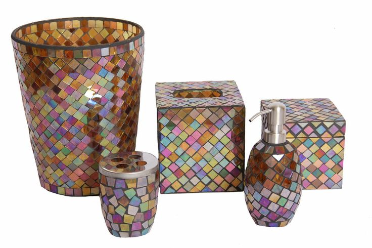 Mosaic glass bathroom accessory set 5 pieces for Mosaic bath accessories