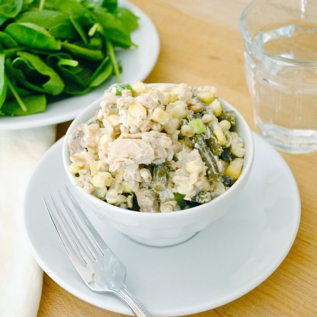 Roasted Chicken Salad with Green Beans, Corn, and Farro