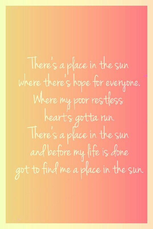 place in the sun- Stevie wonder