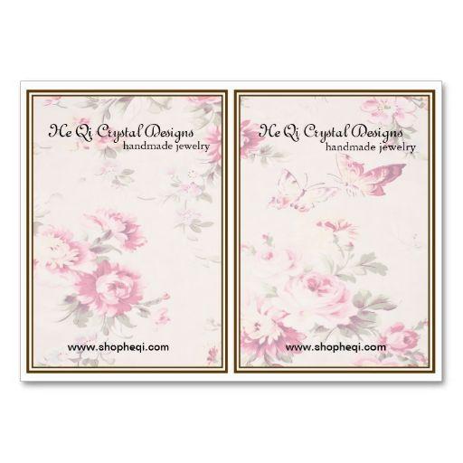 Custom earring display card vintage flowers for Business card display template