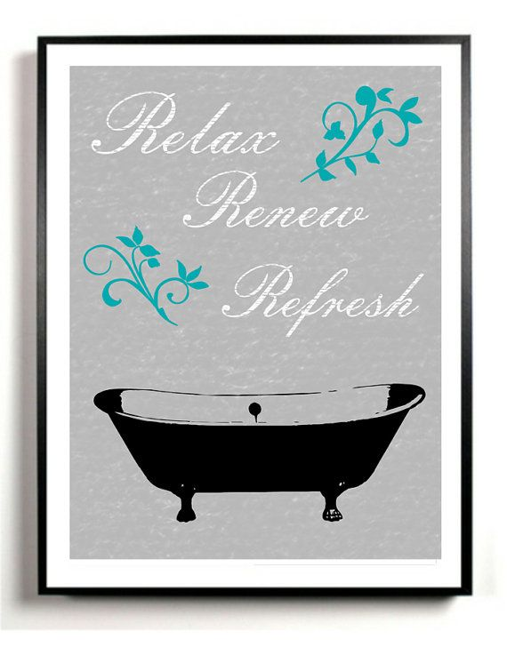 Bathroom Art Print Bath Tub Artwork Poster Gray And Black Vintage