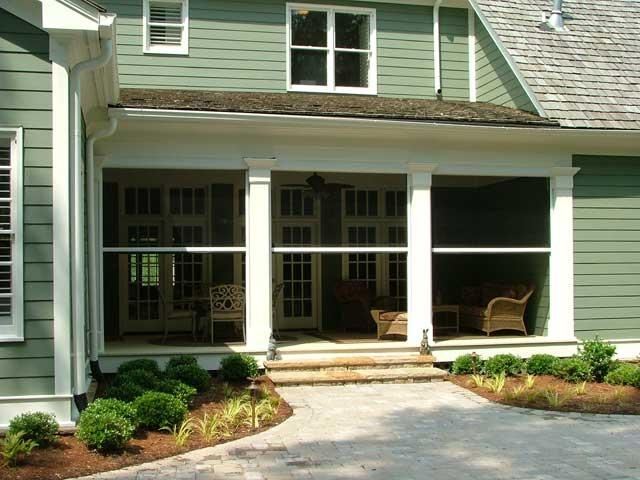 Back porch with retractable screens outdoor garden for Motorized retractable screens for porches