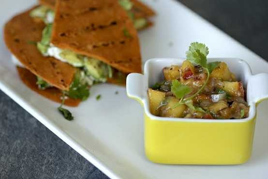 GOAT CHEESE AND AVOCADO QUESADILLAS WITH NECTARINE SALSA. SOUNDS LIKE ...