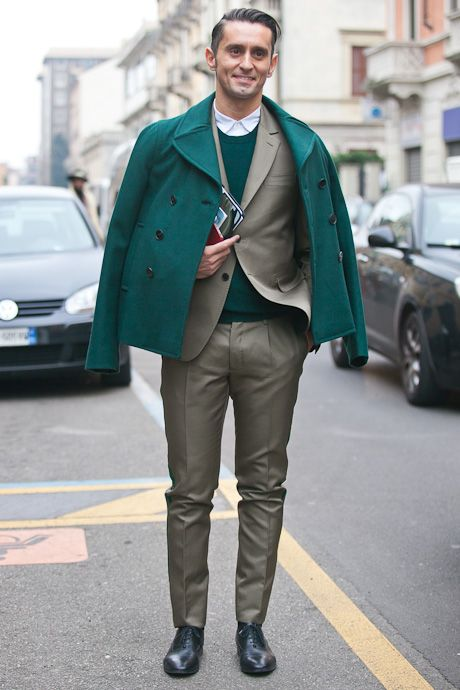 street style: emerald green coat and sweather with beige suit, menswear