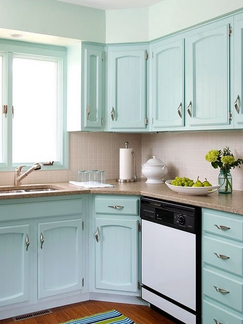 Alternate angle of aqua cabinets  House Beautiful~kitchen  Pinterest
