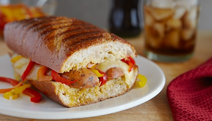 Italian Sausage with Swiss Cheese and Roasted Peppers Panini