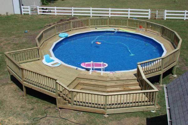 Sunken pool decks above ground pool decks pinterest for Plan patio piscine