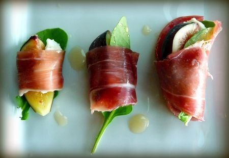 Prosciutto, fig, arugula, and goat cheese roll ups.