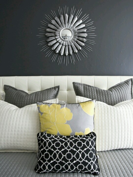 Master Bedroom Grey Yellow White Home Pinterest
